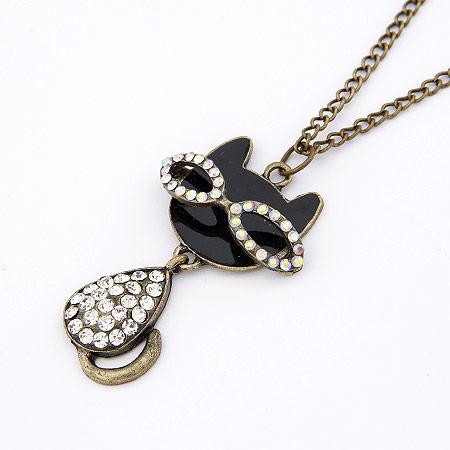 Zinklegierung Pullover Halskette, Katze, antike Bronzefarbe plattiert, mit Strass, frei von Blei & Kadmium, 700x62x35mm, verkauft per ca. 27.56 ZollInch Strang