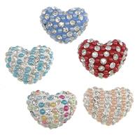 Halb gebohrte Strass Perlen, Lehm pflastern, mit Harz-Perle, Herz, 73 Stück mit Strass & halbgebohrt, keine, 20x17x12mm, Bohrung:ca. 1mm, 20PCs/Menge, verkauft von Menge