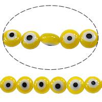 Böser Blick Lampwork Perlen, flache Runde, böser Blick- Muster, gelb, 6x14mm, Bohrung:ca. 1mm, Länge:ca. 16 ZollInch, 10SträngeStrang/Menge, ca. 70PCs/Strang, verkauft von Menge
