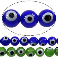 Böser Blick Lampwork Perlen, rund, böser Blick- Muster, keine, 8mm, Bohrung:ca. 1mm, Länge:ca. 16 ZollInch, 10SträngeStrang/Menge, ca. 52PCs/Strang, verkauft von Menge
