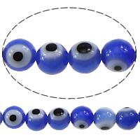 Böser Blick Lampwork Perlen, rund, böser Blick- Muster, blau, 4mm, Bohrung:ca. 0.5mm, Länge:ca. 16 ZollInch, 10SträngeStrang/Menge, ca. 105PCs/Strang, verkauft von Menge
