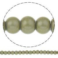 Einbrennlack Glasperlen, Glas, rund, braun, 6mm, Bohrung:ca. 1.5mm, Länge:ca. 32 ZollInch, 10SträngeStrang/Tasche, ca. 161PCs/Strang, verkauft von Tasche