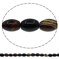 Natürliche Kaffee Achat Perlen, oval, verschiedene Größen vorhanden, Bohrung:ca. 1mm, Länge:ca. 15 ZollInch, verkauft von Menge