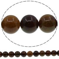Natürliche Kaffee Achat Perlen, rund, 20mm, Bohrung:ca. 1mm, Länge:ca. 15 ZollInch, 10SträngeStrang/Menge, ca. 20PCs/Strang, verkauft von Menge