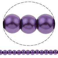Einbrennlack Glasperlen, Glas, rund, Nachahmung Perle, violett, 6mm, Bohrung:ca. 1mm, Länge:ca. 35 ZollInch, 10SträngeStrang/Tasche, ca. 150PCs/Strang, verkauft von Tasche