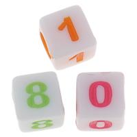 Anzahl Acrylkorn, Acryl, mit einem Muster von Nummer & gemischt & Volltonfarbe, 6mm, Bohrung:ca. 3mm, ca. 5000PCs/Tasche, verkauft von Tasche