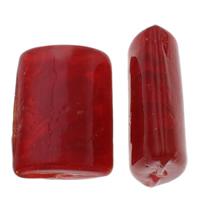 Handgewickelte Perlen, Lampwork, Rechteck, handgemacht, rot, 22x30x12mm, Bohrung:ca. 2mm, ca. 75PCs/kg, verkauft von kg