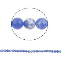 Natürliche Feuerachat Perlen, rund, blau, 6mm, Bohrung:ca. 1mm, ca. 67PCs/Strang, verkauft per ca. 15.3 ZollInch Strang