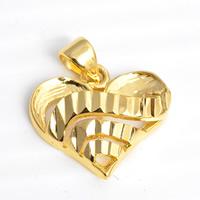 24 k-Gold überzogene hängende Farbe, Messing, Herz, 24 K vergoldet, Blume Schnitt, frei von Nickel, Blei & Kadmium, 17x20mm, Bohrung:ca. 2x4.5mm, 30PCs/Menge, verkauft von Menge