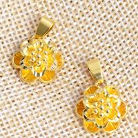24 k-Gold überzogene hängende Farbe, Messing, Blume, 24 K vergoldet, geschichtet, frei von Nickel, Blei & Kadmium, 15x21mm, Bohrung:ca. 2x4.5mm, 20PCs/Menge, verkauft von Menge