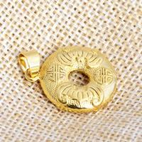 24 k-Gold überzogene hängende Farbe, Messing, flache Runde, 24 K vergoldet, frei von Nickel, Blei & Kadmium, 19x28mm, Bohrung:ca. 2x4.5mm, 20PCs/Menge, verkauft von Menge