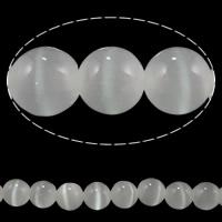 Cats Eye Perlen Schmuck, Katzenauge, rund, verschiedene Größen vorhanden, weiß, verkauft von Menge