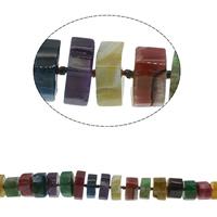 Natürliche Regenbogen Achat Perlen, facettierte, gemischte Farben, 12x12mm-34x16mm, Bohrung:ca. 1mm, ca. 36PCs/Strang, verkauft per ca. 19.6 ZollInch Strang