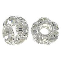 Strass Messing Perlen, Trommel, Platinfarbe platiniert, mit Strass & großes Loch & hohl, frei von Nickel, Blei & Kadmium, 15x18mm, Bohrung:ca. 6mm, 30PCs/Menge, verkauft von Menge