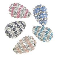 Halb gebohrte Strass Perlen, Lehm pflastern, mit Harz-Perle, Tropfen, mit 40 Strasssteinen & halbgebohrt, keine, 10x16mm, Bohrung:ca. 1mm, 30PCs/Menge, verkauft von Menge