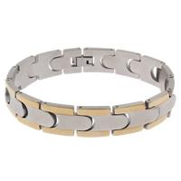 Edelstahl Schmuck Armband, plattiert, zweifarbig, 13x20x3mm, verkauft per ca. 8 ZollInch Strang