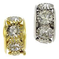 Strass Messing Perlen, Rondell, plattiert, mit Strass & großes Loch, keine, frei von Nickel, Blei & Kadmium, 6.60x12.80mm, Bohrung:ca. 7mm, 30PCs/Menge, verkauft von Menge