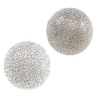 Messing Sternenstaub Perlen, rund, Platinfarbe platiniert, Falten, frei von Nickel, Blei & Kadmium, 10mm, Bohrung:ca. 2mm, 200PCs/Menge, verkauft von Menge