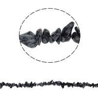 Edelstein-Span, Schneeflocke Obsidian, Bruchstück, 5-8mm, Bohrung:ca. 0.8mm, ca. 260PCs/Strang, verkauft per ca. 34.6 ZollInch Strang