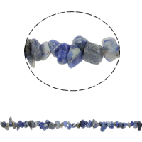 Blauer Tupfen Stein Perlen, blauer Punkt, Klumpen, 5-8mm, Bohrung:ca. 0.8mm, ca. 260PCs/Strang, verkauft per ca. 33 ZollInch Strang