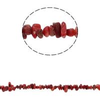 Natürliche Korallen Perlen, Klumpen, rot, 5-8mm, Bohrung:ca. 0.8mm, ca. 260PCs/Strang, verkauft per ca. 33.8 ZollInch Strang