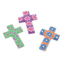 Polymer Ton Anhänger, Kreuz, handgemacht, mit Blumenmuster, gemischte Farben, 30x45x3mm, Bohrung:ca. 1mm, 100PCs/Tasche, verkauft von Tasche