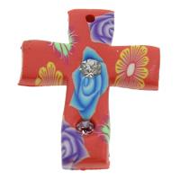 Polymer Ton Anhänger, Kreuz, handgemacht, mit Blumenmuster & mit Strass, 22x28x3mm, Bohrung:ca. 1mm, 100PCs/Tasche, verkauft von Tasche
