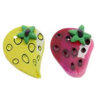 Polymer Ton Anhänger, Erdbeere, handgemacht, gemischte Farben, 16x21x6mm, Bohrung:ca. 1.5mm, 100PCs/Tasche, verkauft von Tasche
