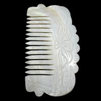 Schale Kamm, Weiße Muschel, 105x57x2mm, 5PCs/Tasche, verkauft von Tasche