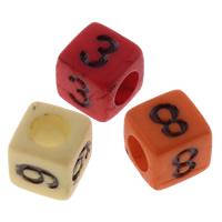 Anzahl Acrylkorn, Acryl, gemischt & Volltonfarbe, 6x6mm, Bohrung:ca. 3mm, ca. 2750PCs/Tasche, verkauft von Tasche
