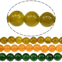 Qinghai Jade Perle, rund, verschiedene Größen vorhanden, keine, Bohrung:ca. 1mm, Länge:ca. 16 ZollInch, verkauft von Menge