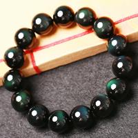 Schwarzer Obsidian Armband, rund, natürlich, verschiedene Größen vorhanden, verkauft per ca. 7.5 ZollInch Strang