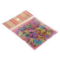 Chemische Wash Acryl Perlen, mit OPP, Schmetterling, chemische-Waschanlagen, gemischte Farben, 14x11x4mm, 100x170mm, Bohrung:ca. 1.5mm, ca. 150PCs/Tasche, verkauft von Tasche