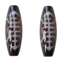 Natürliche Tibetan Achat Dzi Perlen, oval, zweifarbig, Grad AAA, 12x38mm, Bohrung:ca. 2mm, verkauft von PC