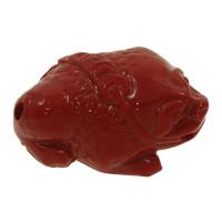 Koralle Anhänger, Synthetische Koralle, Frosch, geschnitzed, rot, 33x23x13mm, Bohrung:ca. 2mm, 10PCs/Tasche, verkauft von Tasche