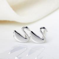 Sterling Silber Schmuck Ohrring, 925 Sterling Silber, Schwan, 6.50x7mm, verkauft von Paar