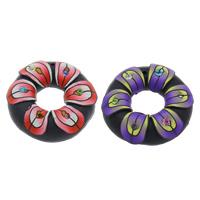 Polymer Ton Anhänger, Kreisring, handgemacht, mit Strass, gemischte Farben, 43x10mm, Bohrung:ca. 1.5mm, 100PCs/Tasche, verkauft von Tasche