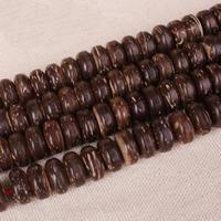 Kokosrinde Zwischenperlen, flache Runde, natürlich, buddhistischer Schmuck & verschiedene Größen vorhanden, frei von Nickel, Blei & Kadmium, Bohrung:ca. 2mm, ca. 108PCs/Menge, verkauft von Menge