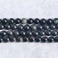 Schwarze Obsidian Perlen, Schwarzer Obsidian, rund, verschiedene Größen vorhanden, Länge:ca. 15 ZollInch, verkauft von Menge