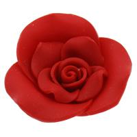 Polymer Ton Perlen , Blume, handgemacht, rot, 40x13mm, Bohrung:ca. 2mm, 100PCs/Tasche, verkauft von Tasche