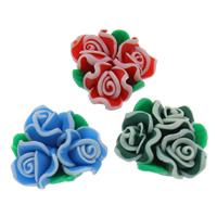 Polymer Ton Perlen , Blume, handgemacht, gemischte Farben, 20x10mm, Bohrung:ca. 1mm, 100PCs/Tasche, verkauft von Tasche