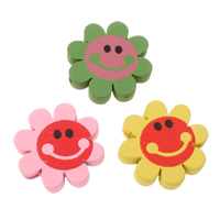 Holzperlen, Holz, Blume, Kunstdruck, gemischte Farben, 21x5mm, Bohrung:ca. 2mm, ca. 550PCs/Tasche, verkauft von Tasche