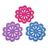 Holz Anhänger, Blume, gemischte Farben, 45x45x2mm, Bohrung:ca. 1mm, 200PCs/Tasche, verkauft von Tasche