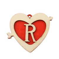 Holz Anhänger, Herz, rot, 51x43x5mm, Bohrung:ca. 2mm, 200PCs/Tasche, verkauft von Tasche