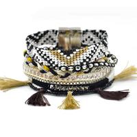 Mode-brasilianische Hipanema Armband, Nylon, mit Ripsband & Kristall & Glas-Rocailles & Zinklegierung, plattiert, Brasilien-Stil & 8-Strang & facettierte, frei von Nickel, Blei & Kadmium, 40mm, Länge:ca. 7.4 ZollInch, ca. 5SträngeStrang/Menge, verkauft von Menge