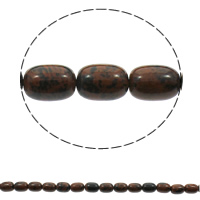 Mahagoni Obsidian Perlen, mahagonibrauner Obsidian, Zylinder, natürlich, 10x15mm, Bohrung:ca. 1mm, ca. 28PCs/Strang, verkauft per ca. 15.7 ZollInch Strang