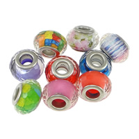 Kunststoff European Perlen, Trommel, Platinfarbe platiniert, Messing-Dual-Core ohne troll & facettierte, keine, frei von Nickel, Blei & Kadmium, 9x14mm, Bohrung:ca. 5mm, 200PCs/Menge, verkauft von Menge