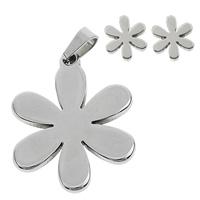 Edelstahl Schmucksets, Anhänger & Ohrring, Blume, ohne Ohrmutter, originale Farbe, 19.5x25x2mm, 7.5x8x12mm, Bohrung:ca. 3x5mm, verkauft von setzen