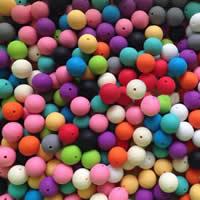 Silikon-Perlen, Silikon, rund, verschiedene Größen vorhanden, gemischte Farben, Bohrung:ca. 2mm, 100PCs/Tasche, verkauft von Tasche