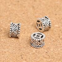 Bali Sterling Silber Perlen, Thailand, Zylinder, hohl, 8x5mm, Bohrung:ca. 1.2mm, 20PCs/Menge, verkauft von Menge